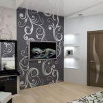 Дизайн обоев в комнате может контрастировать друг с другом либо иметь одинаковый орнамент, различаясь лишь оттенком.