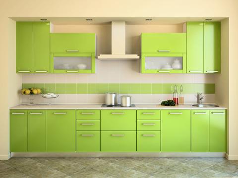 Спокойный дизайн интерьера при салатовой кухне