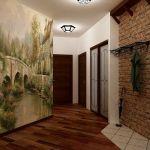 Большое коридорное помещение с оформлением фотообоями