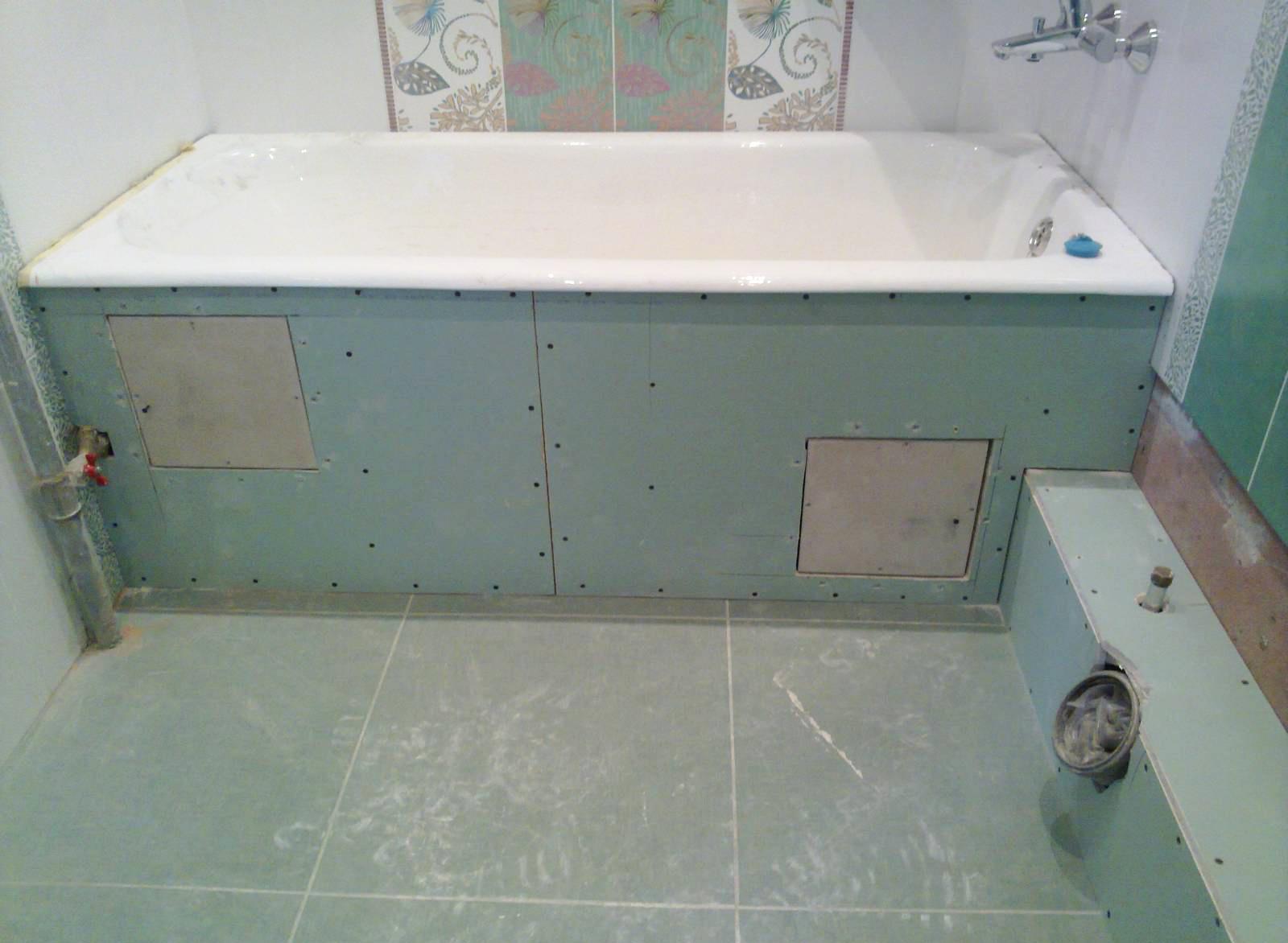 отделка ванны гипсокартоном для облицовки плиткой