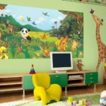 Анималистический сюжет фотообоев для комнаты мальчика