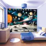 Обои детские бумажные – акцентная стена с фотообоями космической тематики