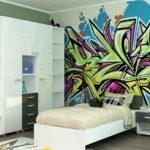 Яркое граффити в комнате подростка
